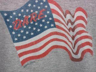 AMERICAN FLAG DARE MUNDY TOWNSHIP MICHIGAN DRUG EDU T TEE SHIRT GRAY