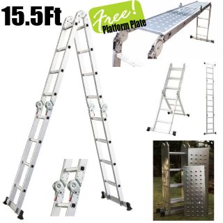 Platform Multi Purpose Folding Aluminum Ladder w/ 2 Free Plate EN131