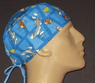 TOM & JERRY CARTOON ALL OVER SCRUB HAT MADE FROM OUT OF PRINT FABRIC
