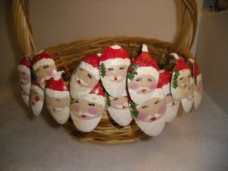 15 Primitive Hand Painted Vintage Spoon Santa Claus Christmas Tree
