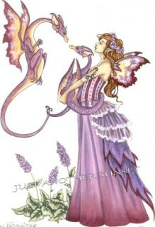 Amy Brown Print Shy Encounter Dragon Twins Fairy Faery Baby Mother