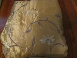 Allen Roth Jamestown GOLD Drape Curtain Taffeta Embroidered Pole Top