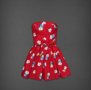 WOMENS SMALL RED FLORAL ANABEL STRAPLESS DRESS NEW S HOLLISTER