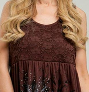 Size 1X TANK TOP SHIRT Womens Plus SLEEVELESS Brown Lace ROMAN FASHION