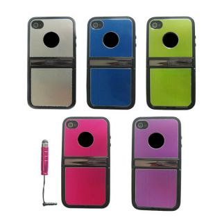 1X Stylus+ Aluminum TPU Hard Case Cover W/Chrome Stand For iPhone 4 4G
