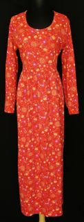 Hanna Andersson Orange Red Floral Dress L Cotton Knit Fall Winter Long