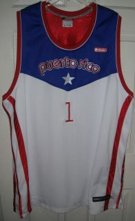 AND1 Puerto Rico basketball jersey 2X XXL white red & blue keyword HOT