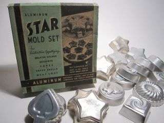 Vintage Mirro Aluminum Jello Dessert Cake Mold Pan Set Lot Star Bunny