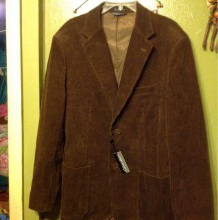 Andrew Fezza Corduroy Brown Blazer Jacker Size Large New With Tags No