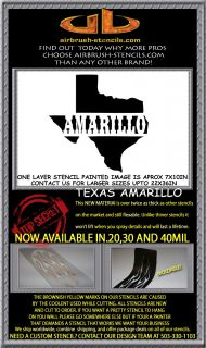 Amarillo Texas State Airbrush Stencil Template Harley Paint New Design
