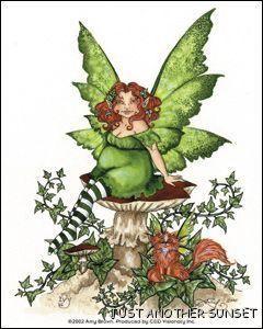 Amy Brown Sticker Decal Fairy Faery Ivy Green Vines Toadstool Mushroom