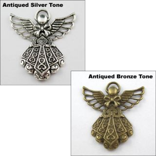 Silver Bronze Tone Angel Wings Charms Pendants 38 5x42mm L199