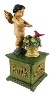 Cast Iron Angel Feeding Bird Mechanical Bank Money