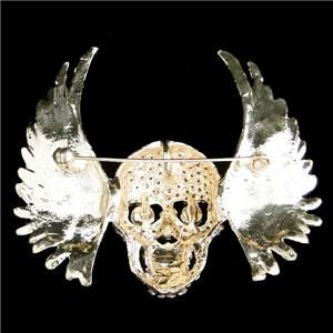 Angel Wing Skull Pin Brooch Rhinestone Crystal Clear Halloween