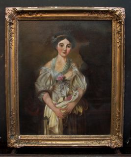 Antique American Folk Art Female Portrait