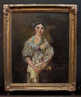 Antique American Folk Art Female Portrait