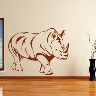 Rhinoceros Side View Outline Animals Wall Decal Wall Art Sticker