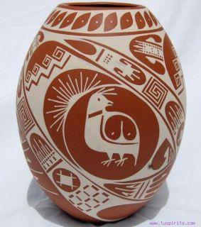 ana trillo mata ortiz fine white on red pottery vase