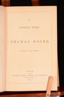 1843 Poetical Works of Thomas Moore Complete in One Volume in