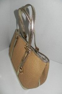 nwt michael kors amagansett pale gold paper straw tote