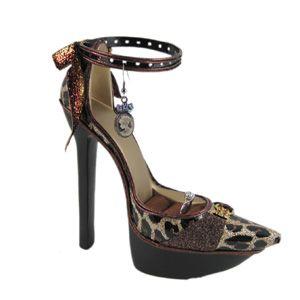 Ankle Strap Shoe Ring & Earring Holder Display Brown Animal Print Heel