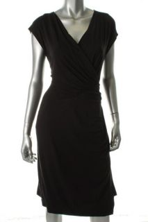 Anne Klein New Black Stretch Crossover Cap Sleeve Wear to Work Dress L