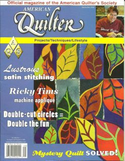 American Quilter Magazine September 2008 ~ Ricky Tims Machine Applique