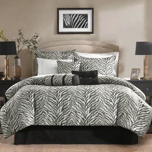 Black Gray ZEBRA PRINT Animal 7pc Comforter Bedding Set Pillows NEW