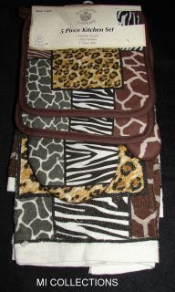 Wild Animal Print 5 Piece Kitchen Collection Pot Holders Towels