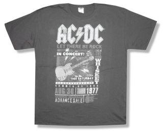 AC DC Tour 1977 Poster Metal Angus Grey T Shirt New Adult x Large XL
