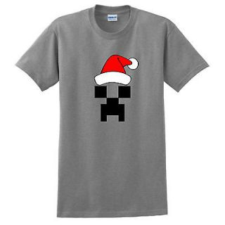 Creeper Santa T Shirt Minecraft Sword Steve Pickaxe Xbox 360 WXM 47