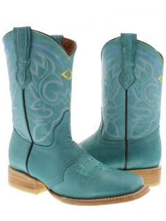 WOMENS LADIES TURQUOISE LEATHER ROPER SQUARE COWBOY BOOTS RODEO