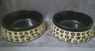 Set of 2 HAND PAINTED LEOPARD Cheetah Animal print large dog bowls