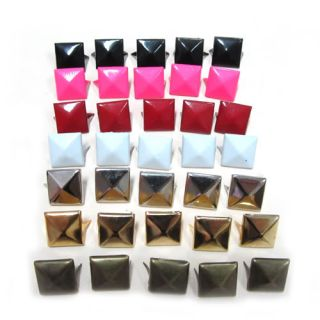 100x 12mm Metal Pyramid Spikes Biker Clothes Shoes Bag Gothic Belt