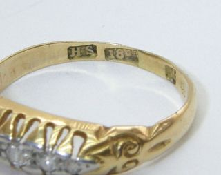 Vintage Victorian 18 Carat Gold Ring Set with 5 Diamonds