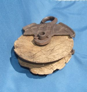 antique myers cast iron wooden barn pulley