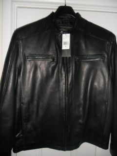 Andrew Marc Black Leather Jacket Size XL