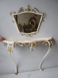 Nice Antique Iron Mirror and Console Table 01613
