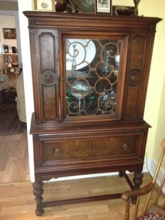 Antique China Cabinet Mahogany 1920s 1930s