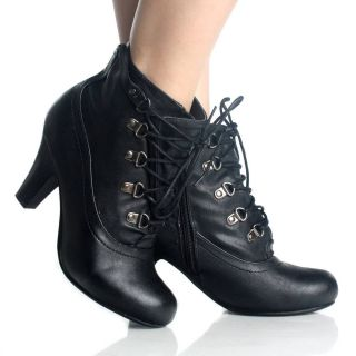 Black Lace Up Ankle Boots Oxford Booties Steam Punk Womens High Heels