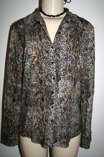 ANN TAYLOR Sz L Black Brown Snake Animal Print Button Down Stretch