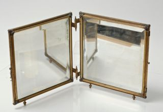 Antique Victorian Gilt Bronze Hinged Double Vanity Mirror with Toile