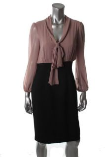Anne Klein New Black 2fer Tie Neck Sheer Bishop Sleeve Wear to Work