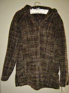 Anne Klein New 200 Brown Tweed Wool Blend Zip Short Jacket Coat L