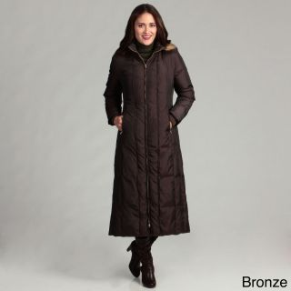 Anne Klein Womens Long Down Piped Coat