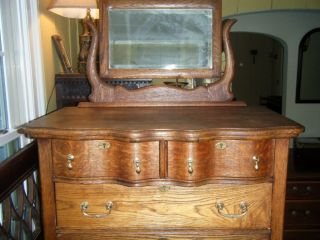 Antique Carved Oak Wood Dresser w Beveled Mirror Mortise Tendon Joints