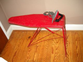 antique toy red metal Ironing Board childs folding with vintage Iron
