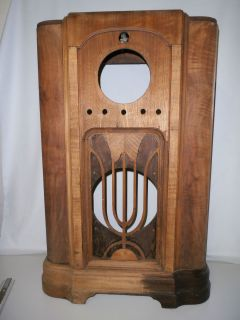 Antique Wooden Floor Model Console Tube Radio Cabinet Shell