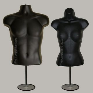 Female (Waist Long) W/ Base Mannequin Forms Set   S M Sizes   Black