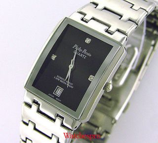 new philip persio mens square dress crystal watch date one